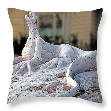 Snow Dragon Throw Pillow by Terry Reynoldson