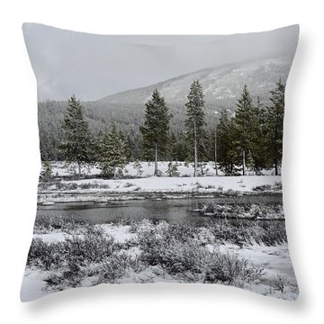 Snow-dusted Gibbon Meadows In Yellowstone Throw Pillow by Bruce Gourley