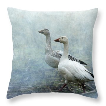 Snow Geese Throw Pillow by Angie Vogel