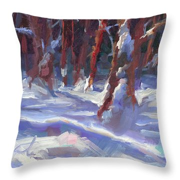Snow Laden - Winter Snow Covered Trees Throw Pillow by Talya Johnson
