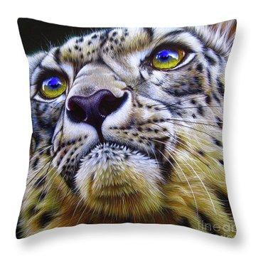 Snow Leopard Throw Pillow by Jurek Zamoyski