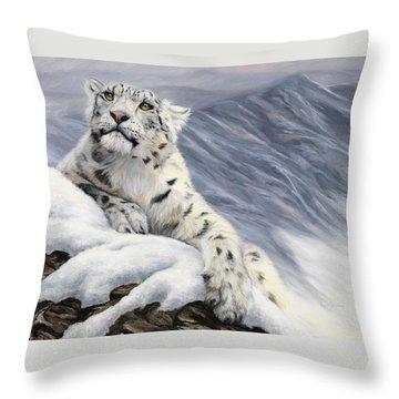 Snow Leopard Throw Pillow by Lucie Bilodeau
