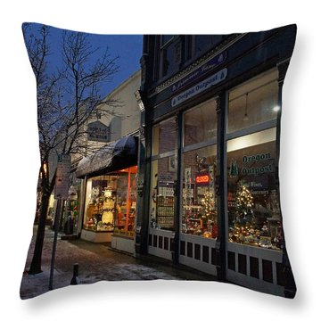 Snow On G Street - Old Town Grants Pass Throw Pillow by Mick Anderson
