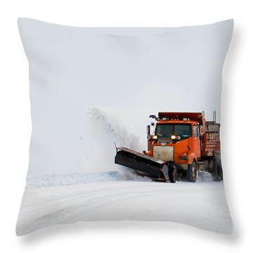 Snow Plough Clearing Road In Winter Storm Blizzard Throw Pillow by Stephan Pietzko