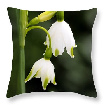 Snowbells In Spring Throw Pillow by Rona Black