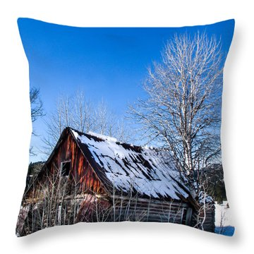 Snowy Cabin Throw Pillow by Robert Bales