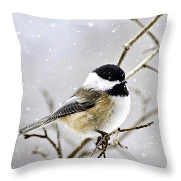 Snowy Chickadee Bird Throw Pillow by Christina Rollo