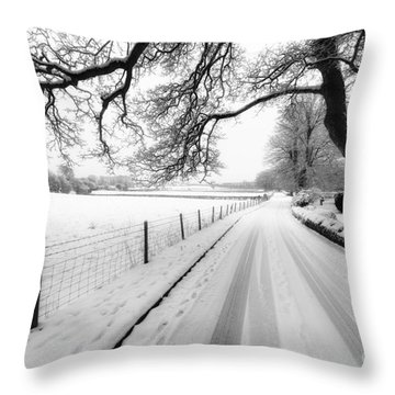Snowy Lane Throw Pillow by Adrian Evans