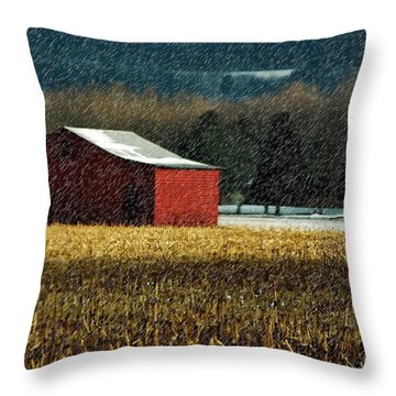 Snowy Red Barn In Winter Throw Pillow by Lois Bryan