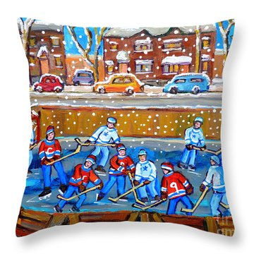 Snowy Rink Hockey Game Montreal Memories Winter Street Scene Painting Carole Spandau Throw Pillow by Carole Spandau