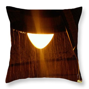 Snowy Street Lamp Throw Pillow by Ramona Matei