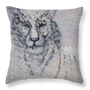 Snowy White Tiger Or Chairman Of The Board Throw Pillow by Phyllis Kaltenbach
