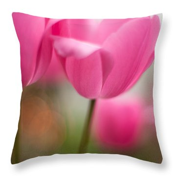 Soaring Pink Tulips Throw Pillow by Mike Reid