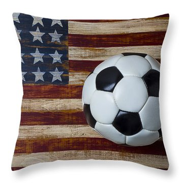 Soccer Ball And Stars And Stripes Throw Pillow by Garry Gay