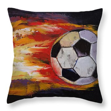 Soccer Throw Pillow by Michael Creese