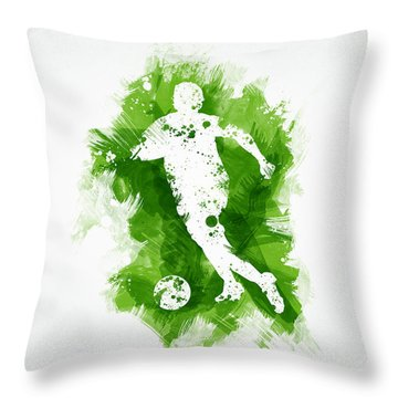 Soccer Player Throw Pillow by Aged Pixel