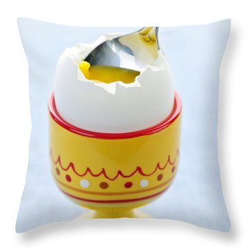Soft Boiled Egg In Cup Throw Pillow by Elena Elisseeva