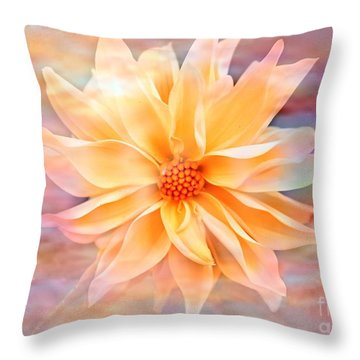 Soft Delightful Dahlia Throw Pillow by Judy Palkimas