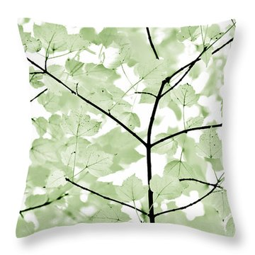 Soft Forest Green Leaves Melody Throw Pillow by Jennie Marie Schell
