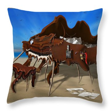 Soft Grand Piano With Camera - Panoramic Throw Pillow by Mike McGlothlen