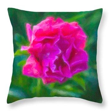 Soft Pink Peony Throw Pillow by Omaste Witkowski