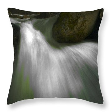 Softwater Of Cascade Creek Throw Pillow by Bill Gallagher