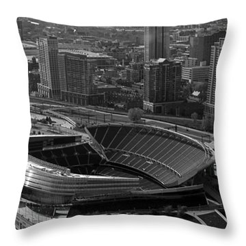 Soldier Field Chicago Sports 05 Black And White Throw Pillow by Thomas Woolworth