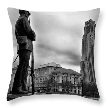 Soldiers Memorial And Cathedral Of Learning Throw Pillow by Thomas R Fletcher