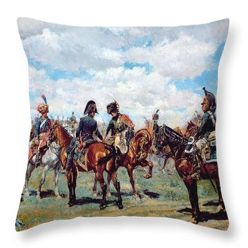 Soldiers On Horseback Throw Pillow by Jean-Louis Ernest Meissonier