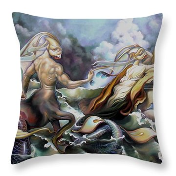 Something Fowl Afloat Redux Throw Pillow by Patrick Anthony Pierson