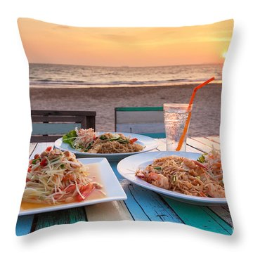 Somtum Pad Thai Throw Pillow by Atiketta Sangasaeng