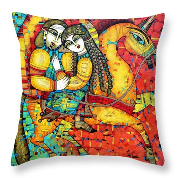 Sonata For Two And Unicorn Throw Pillow by Albena Vatcheva