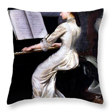 Song Without Words, Piano Player, 1880 Throw Pillow by George Hamilton Barrable