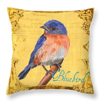 Colorful Songbirds 1 Throw Pillow by Debbie DeWitt