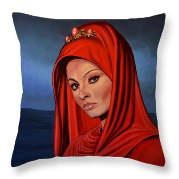 Sophia Loren Throw Pillow by Paul Meijering