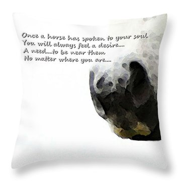 Soul Touch - Emotive Horse Art By Sharon Cummings Throw Pillow by Sharon Cummings