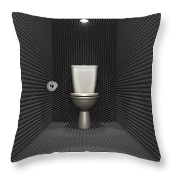 Soundproof Toilet Cubicle Throw Pillow by Allan Swart