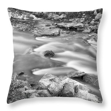 South Boulder Creek Little Waterfalls Rollinsville Bw Throw Pillow by James BO  Insogna