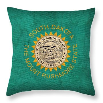 South Dakota State Flag Art On Worn Canvas Throw Pillow by Design Turnpike