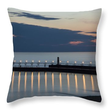 South Haven Michigan Lighthouse Throw Pillow by Adam Romanowicz