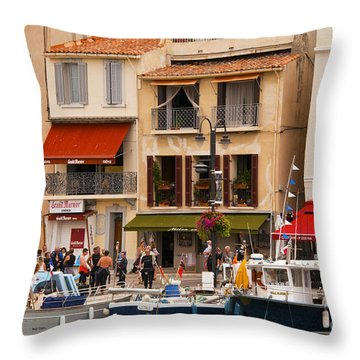 South Of France Fishing Village Throw Pillow by Bob Phillips
