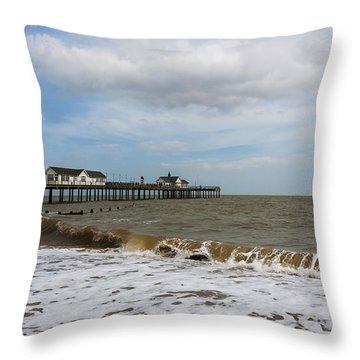 Southwold Pier Throw Pillow by Svetlana Sewell