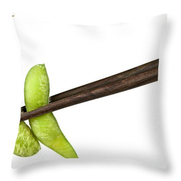 Soy Beans With Chopsticks Throw Pillow by Elena Elisseeva