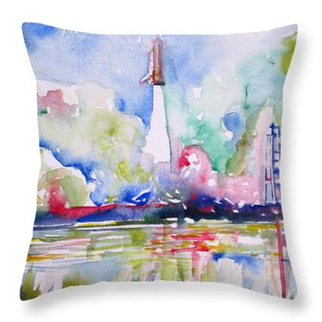 Space Shuttle Taking Off  Throw Pillow by Fabrizio Cassetta