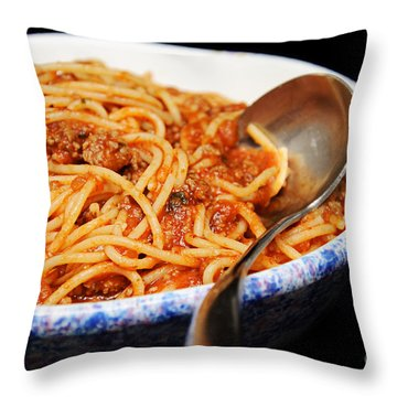 Spaghetti And Meat Sauce With Spoon Throw Pillow by Andee Design