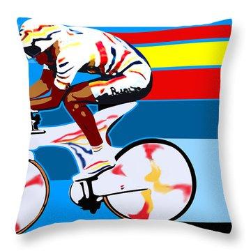 spanish cycling athlete illustration print Miguel Indurain Throw Pillow by Sassan Filsoof
