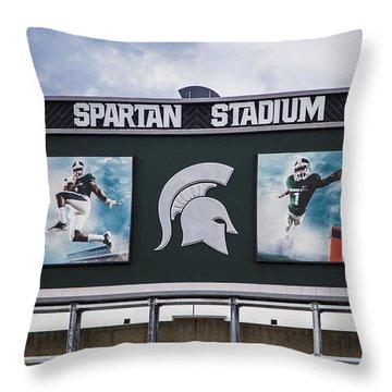 Spartan Stadium Scoreboard  Throw Pillow by John McGraw