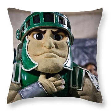 Sparty And Izzo National Anthem  Throw Pillow by John McGraw