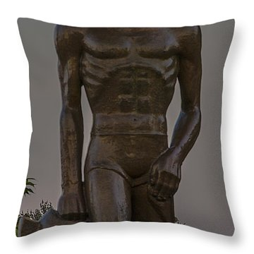 Sparty And Moon Throw Pillow by John McGraw