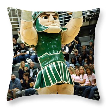 Sparty At Basketball Game  Throw Pillow by John McGraw